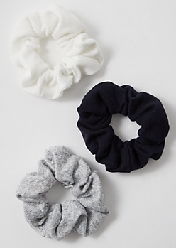 3-Pack Heathered Gray Jersey Scrunchie Set