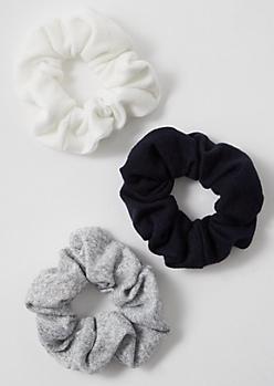 3-Pack Heathered Gray Jersey Scrunchie Set