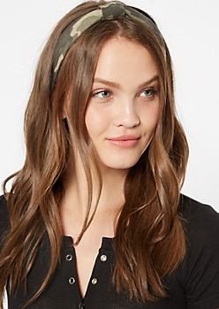 Camo Print Knot Front Hair Wrap