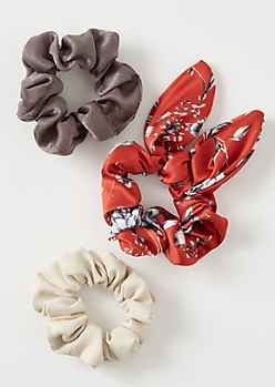 3-Pack Red Satin Bow Scrunchie Set
