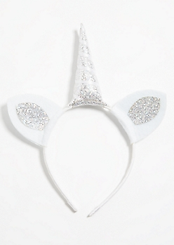 White Glitter Unicorn Horn Headband