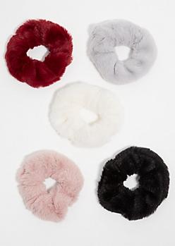 5-Pack Faux Fur Scrunchie Set
