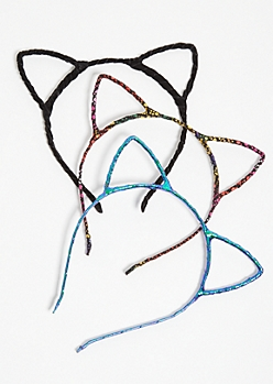 3-Pack Metallic Mermaid Cat Ear Headband Set