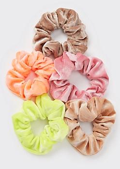 5-Pack Neon Velvet Scrunchie Set