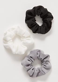 3-Pack Neutral Sweater Knit Scrunchie Set