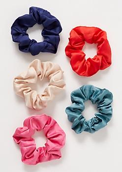5-Pack Sleek Woven Sporty Scrunchie Set