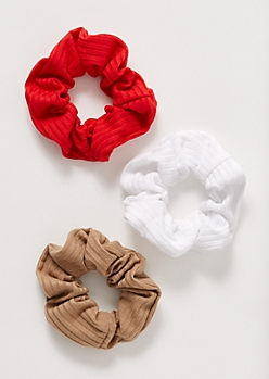 3-Pack Red Ribbed Knit Scrunchie Set