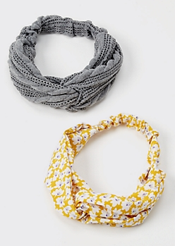 2-Pack Yellow Floral Print Sweater Headband Set