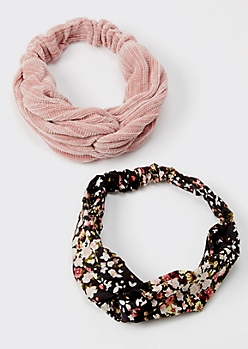2-Pack Pink Floral Print Sweater Headband Set
