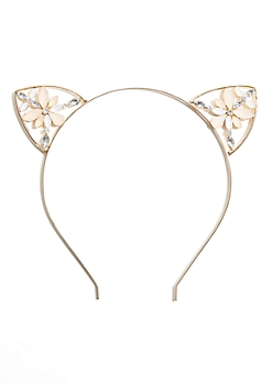 Gold Stone Cat Ear Headband