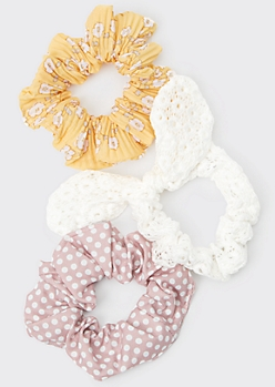 3-Pack Ivory Crochet Floral Print Scrunchie Set