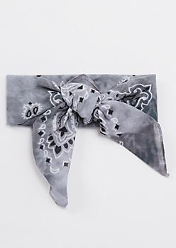 Gray Tie Dye Bandana