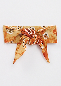 Burnt Orange Tie Dye Bandana