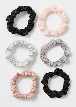 6-Pack Mini Shine Crepe Scrunchies