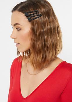 2-Pack Black Glitter Hair Clip Set