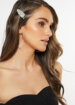 Silver Gemstone Hair Clip