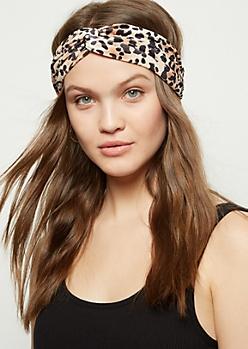 Leopard Print Velvet Hair Wrap