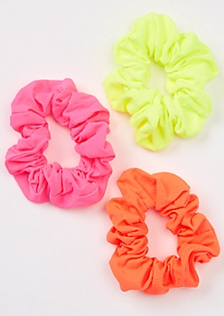 3-Pack Neon Ribbed Knit Scrunchie Set