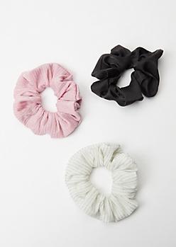 3-Pack Pink Shimmer Scrunchie Set