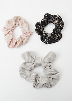 3-Pack Neutral Shimmer Scrunchie Bow Set