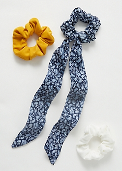 3-Pack Navy Bandana Print Tie Bow Scrunchie Set