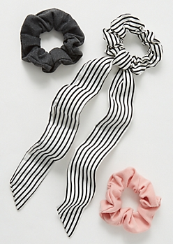 3-Pack White Striped Tie Bow Scrunchie Set