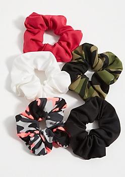 5-Pack Camo Print Scrunchie Set