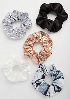 5-Pack Marbled Metallic Scrunchie Set