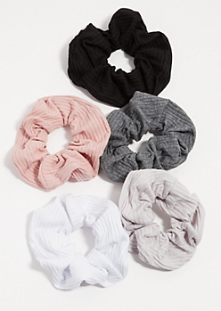 5-Pack Neutral Ribbed Knit Scrunchie Set