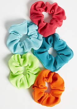 5-Pack Neon Ribbed Knit Scrunchie Set