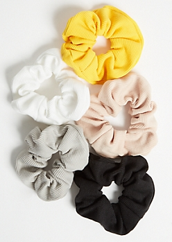 5-Pack Yellow Ribbed Knit Hair Scrunchie Set