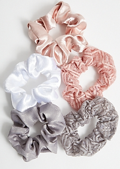 5-Pack Pink Lace Satin Scrunchie Set