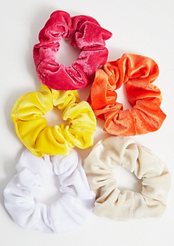 5-Pack Hot Pink Velvet Scrunchie Set
