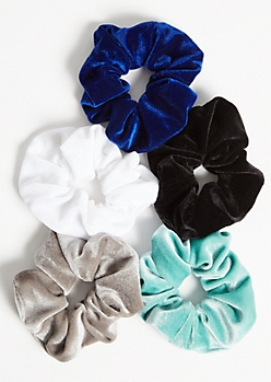 5-Pack Blue Velvet Scrunchie Set