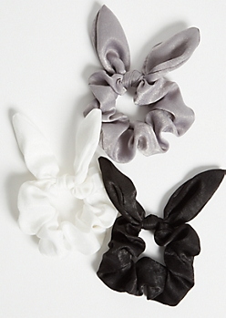 3-Pack Neutral Satin Bow Scrunchie Set