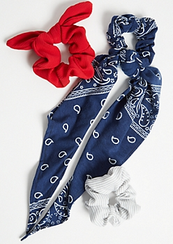 3-Pack Blue Bandana Scrunchie Set