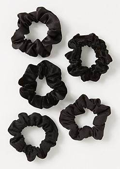 5-Pack Black Scrunchie Set