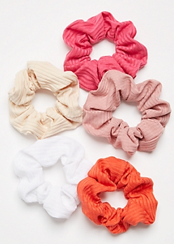 5-Pack Pink Ribbed Knit Scrunchie Set