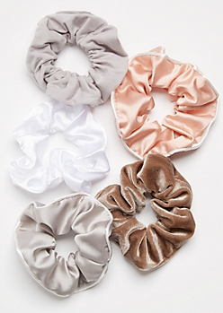 5-Pack Neutral Satin Scrunchie Set