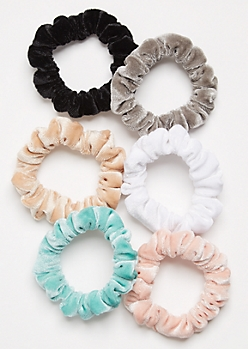 6-Pack Teal Velvet Scrunchie Set