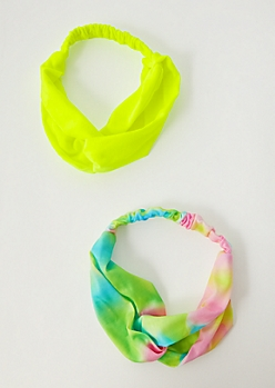2-Pack Neon Tie Dye Knot Hair Wrap Set