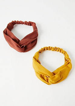 2-Pack Mustard Ribbed Knit Knot Hair Wrap Set