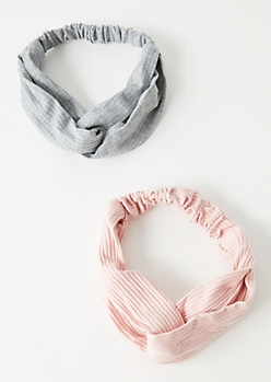 2-Pack Pink Ribbed Knit Knot Hair Wrap Set