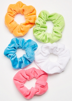 5-Pack Neon Fuzzy Scrunchie Set