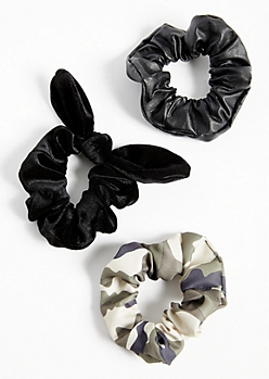 3-Pack Camo Print Bow Scrunchie Set