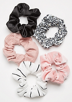 5-Pack Leopard Print Scrunchie Set