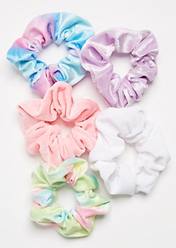 5-Pack Pastel Tie Dye Scrunchie Set