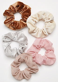 5-Pack Neutral Velvet Glitter Scrunchie Set
