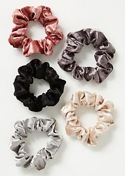 5-Pack Mauve Velvet Scrunchie Set