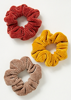 3-Pack Burnt Orange Chenille Scrunchie Set